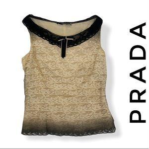 PRADA Black & Cream Lace Blouse